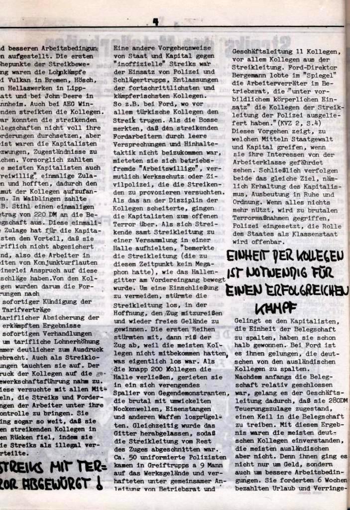 Schulkampf, hg. von der Schülerkommission des KBW, Ortsgruppe Waiblingen, Nr. 1, 27.10.1973, Seite 4