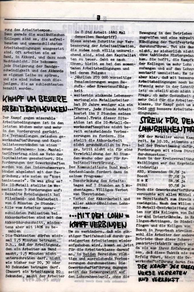 Schulkampf, hg. von der Schülerkommission des KBW, Ortsgruppe Waiblingen, Nr. 1, 27.10.1973, Seite 5