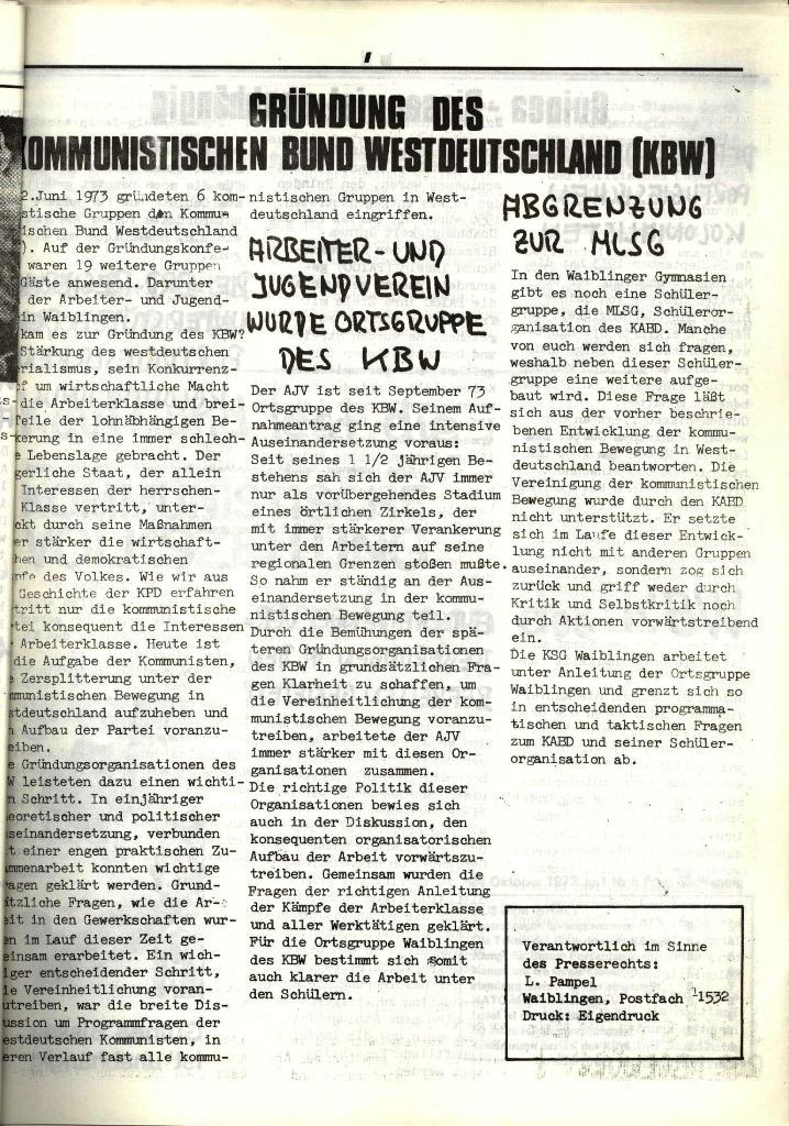 Schulkampf, hg. von der Schülerkommission des KBW, Ortsgruppe Waiblingen, Nr. 1, 27.10.1973, Seite 7