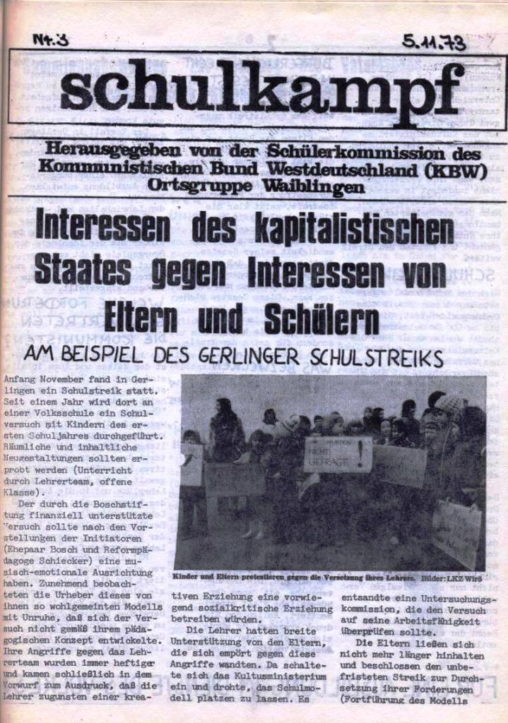 Schulkampf, hg. von der Schülerkommission des KBW, Ortsgruppe Waiblingen, Nr. 3, 5.11.1973, Seite 1