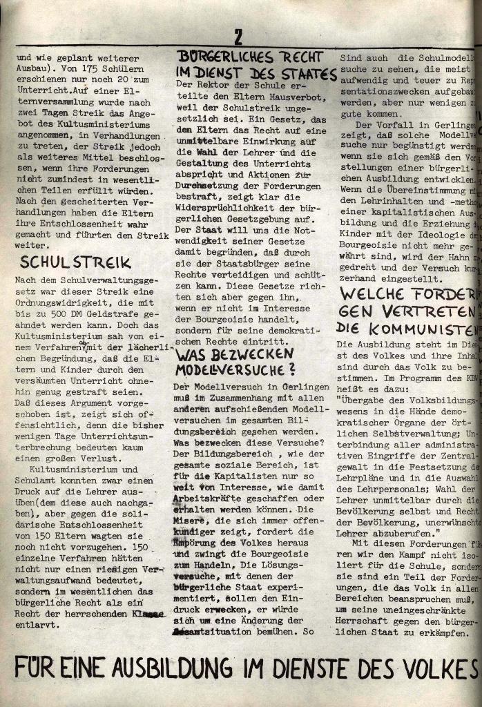 Schulkampf, hg. von der Schülerkommission des KBW, Ortsgruppe Waiblingen, Nr. 3, 5.11.1973, Seite 2