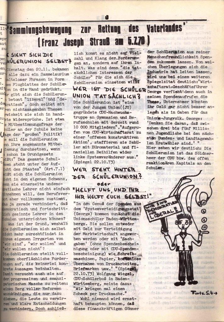 Schulkampf, hg. von der Schülerkommission des KBW, Ortsgruppe Waiblingen, Nr. 3, 5.11.1973, Seite 3