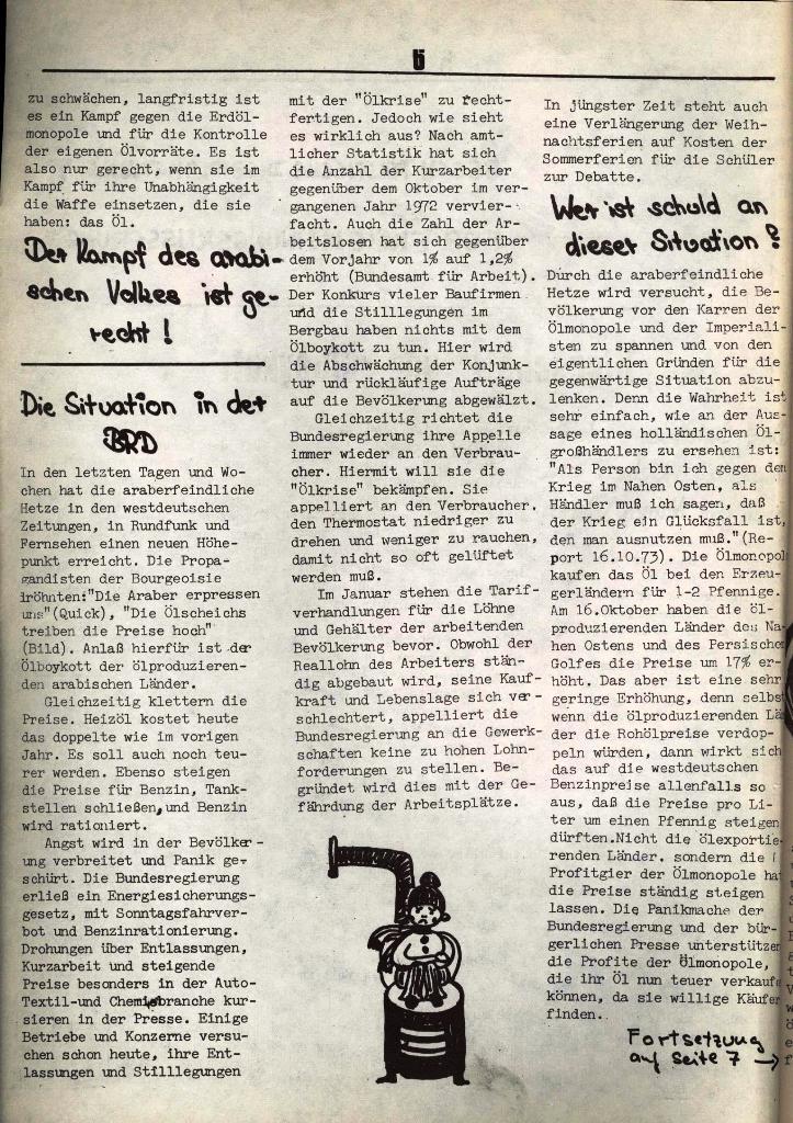 Schulkampf, hg. von der Schülerkommission des KBW, Ortsgruppe Waiblingen, Nr. 3, 5.11.1973, Seite 6