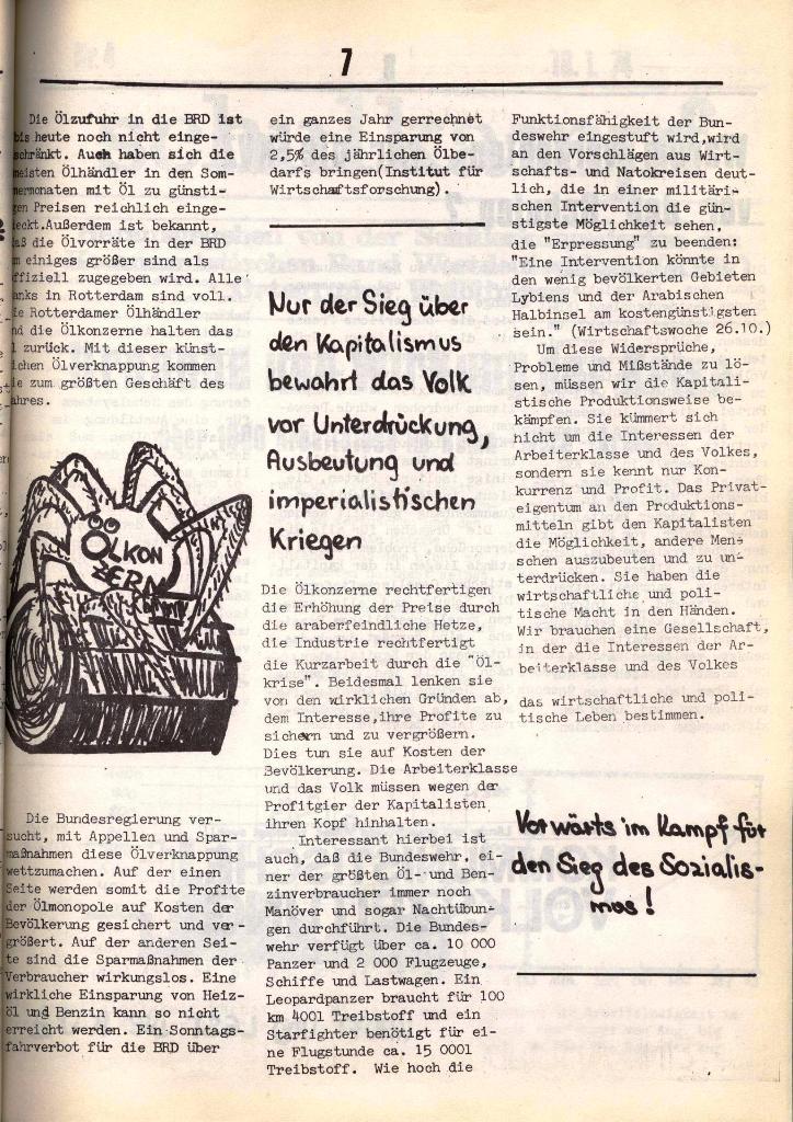 Schulkampf, hg. von der Schülerkommission des KBW, Ortsgruppe Waiblingen, Nr. 3, 5.11.1973, Seite 7