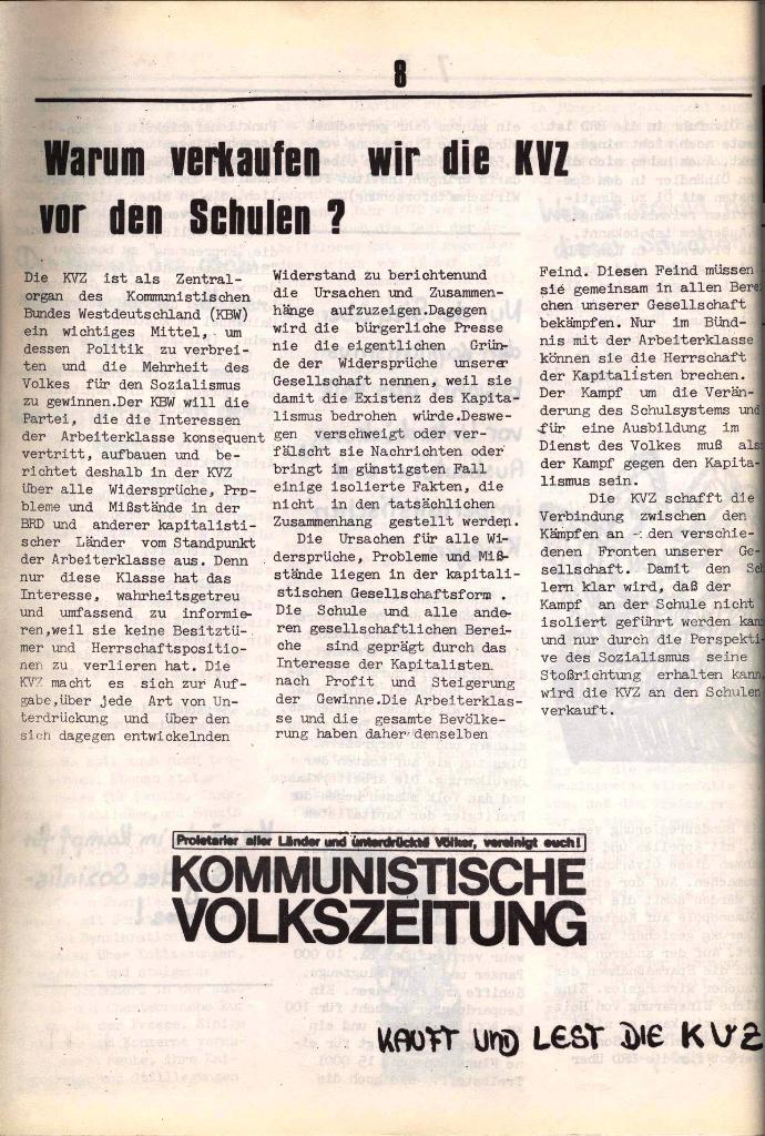 Schulkampf, hg. von der Schülerkommission des KBW, Ortsgruppe Waiblingen, Nr. 3, 5.11.1973, Seite 8