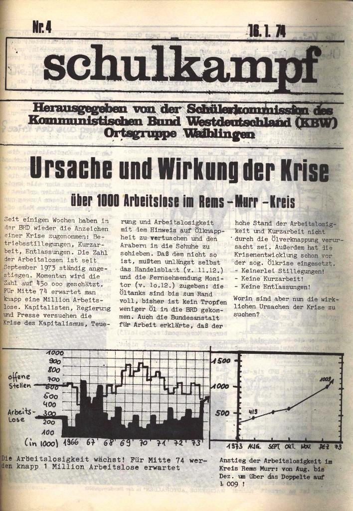Schulkampf, hg. von der Schülerkommission des KBW, Ortsgruppe Waiblingen, Nr. 4, 16.1.1974, Seite 1