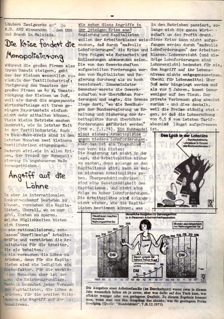 Schulkampf, hg. von der Schülerkommission des KBW, Ortsgruppe Waiblingen, Nr. 4, 16.1.1974, Seite 3