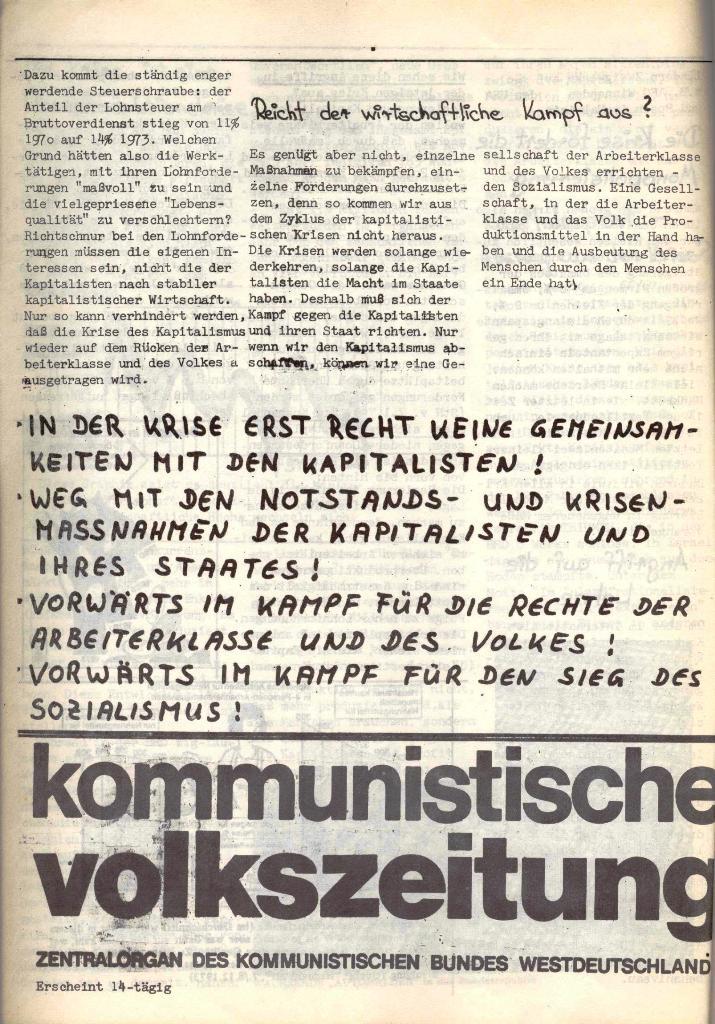 Schulkampf, hg. von der Schülerkommission des KBW, Ortsgruppe Waiblingen, Nr. 4, 16.1.1974, Seite 4