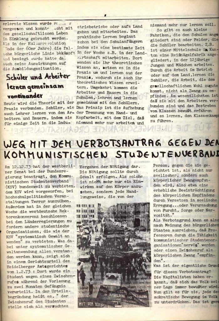 Schulkampf, hg. von der Schülerkommission des KBW, Ortsgruppe Waiblingen, Nr. 4, 16.1.1974, Seite 7