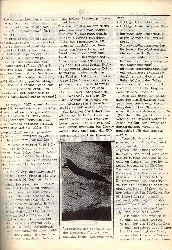 Schulkampf, hg. von der Schülerkommission des KBW, Ortsgruppe Waiblingen, Nr. 4, 16.1.1974, Seite 9