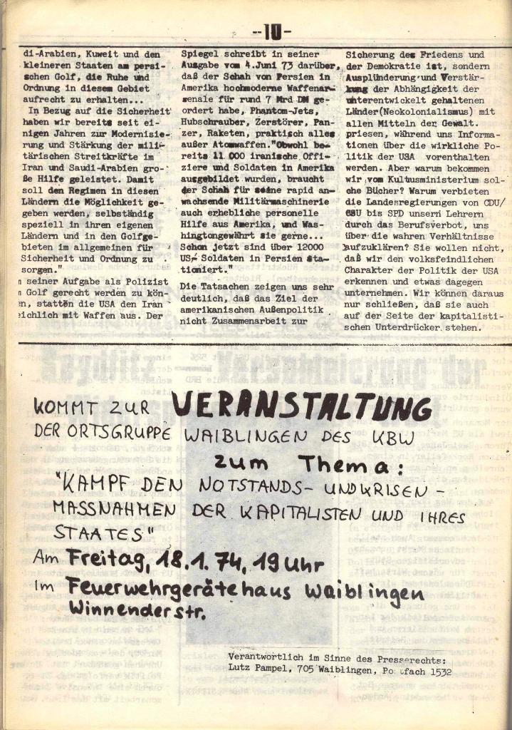 Schulkampf, hg. von der Schülerkommission des KBW, Ortsgruppe Waiblingen, Nr. 4, 16.1.1974, Seite 10