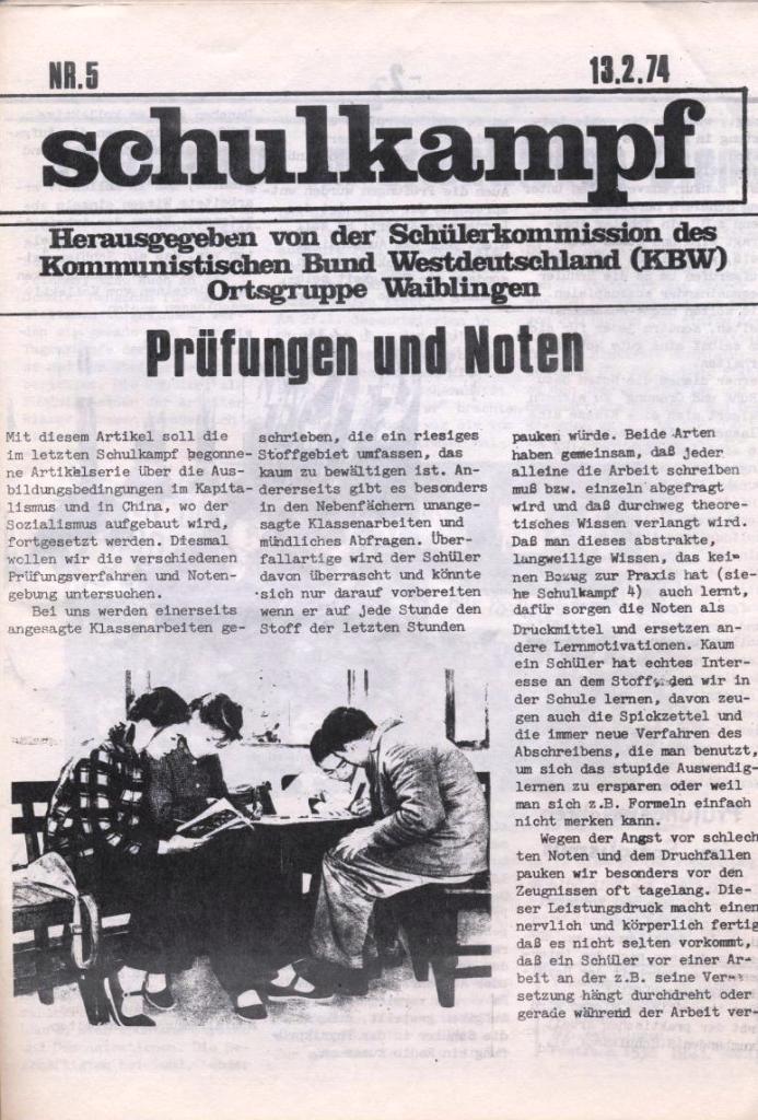 Schulkampf, hg. von der Schülerkommission des KBW, Ortsgruppe Waiblingen, Nr. 5, 13.2.1974, Seite 1
