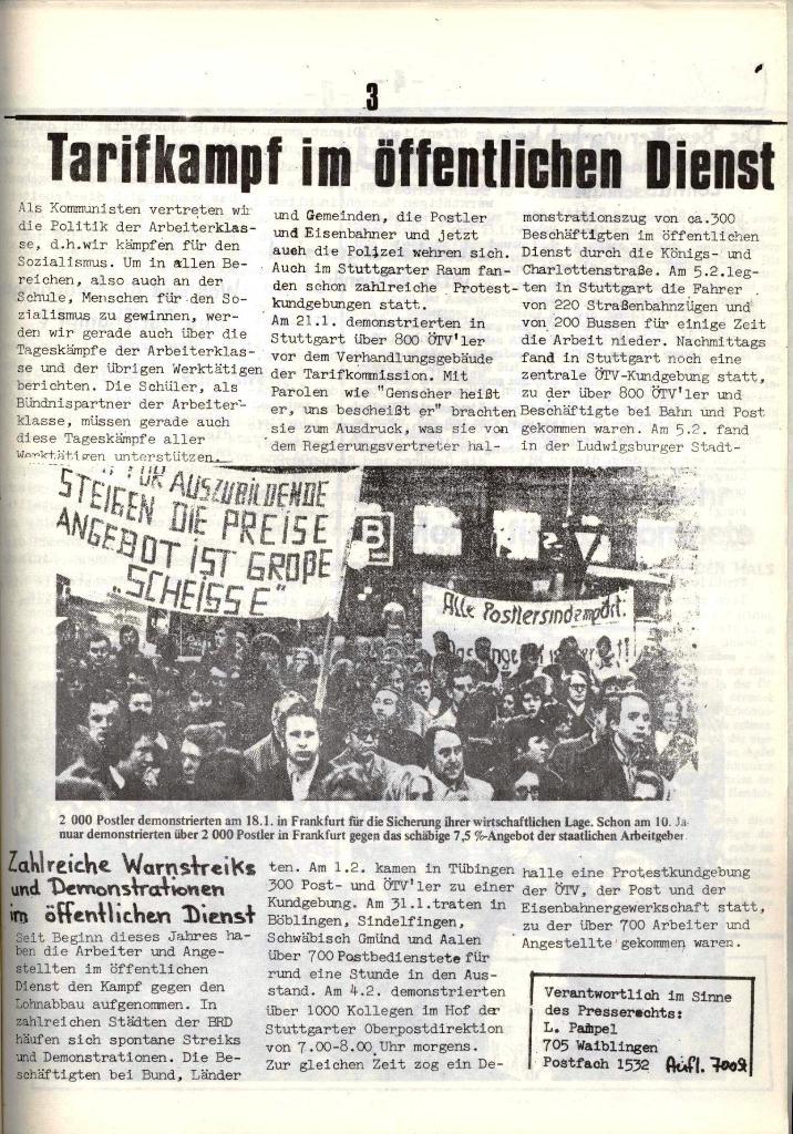 Schulkampf, hg. von der Schülerkommission des KBW, Ortsgruppe Waiblingen, Nr. 5, 13.2.1974, Seite 3