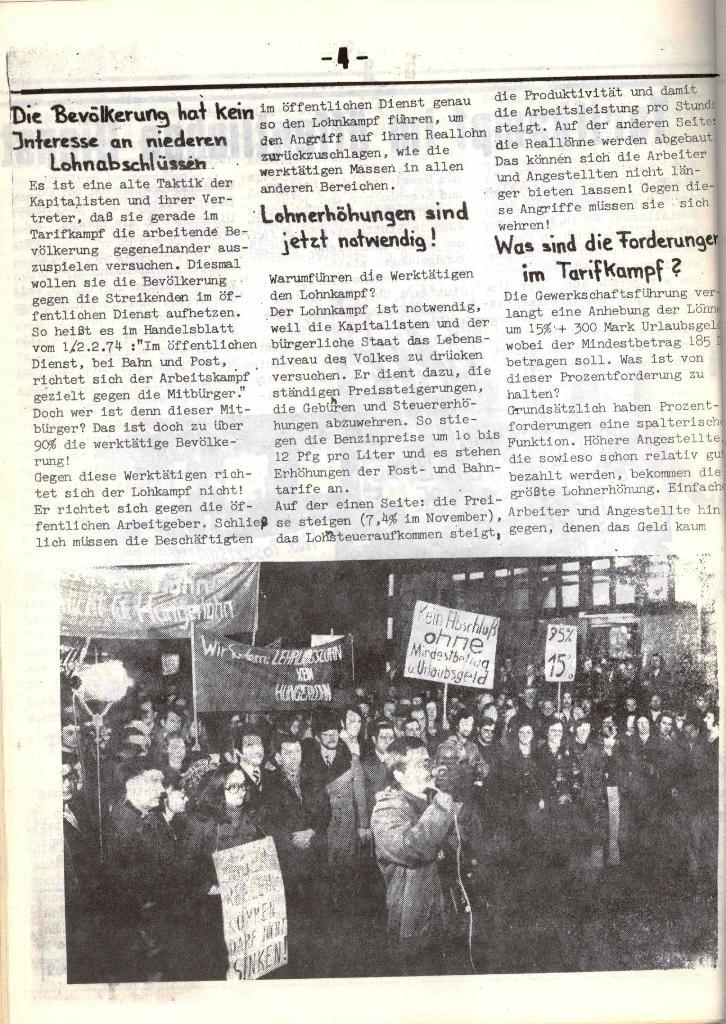 Schulkampf, hg. von der Schülerkommission des KBW, Ortsgruppe Waiblingen, Nr. 5, 13.2.1974, Seite 4