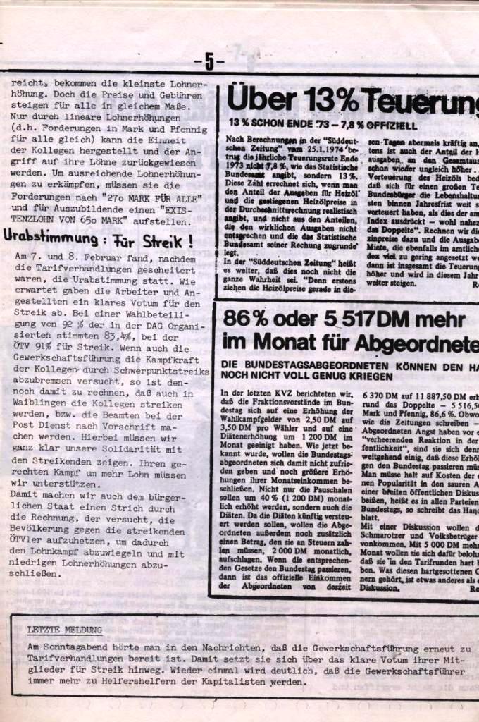 Schulkampf, hg. von der Schülerkommission des KBW, Ortsgruppe Waiblingen, Nr. 5, 13.2.1974, Seite 5