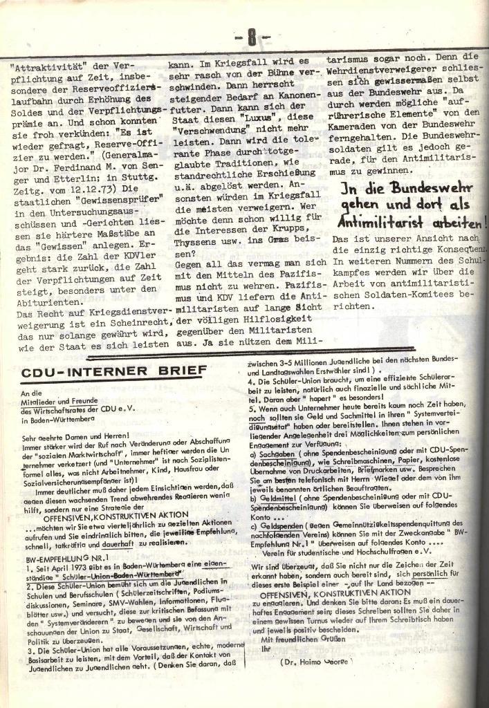 Schulkampf, hg. von der Schülerkommission des KBW, Ortsgruppe Waiblingen, Nr. 5, 13.2.1974, Seite 8