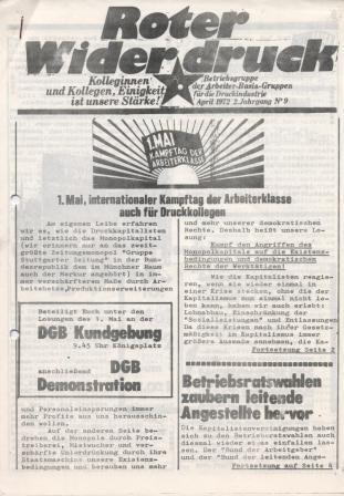 """""""Roter Widerdruck"""", April 1972, Jg. 2, Nr. 9, Betriebszeitung der """"Betriebsgruppe der ABG für die Druckindustrie"""""""