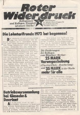 """""""Roter Widerdruck"""", Betriebszeitung der """"Betriebsgruppe der ABG für das Grafische Gewerbe"""", November 1971, Nr. 4,"""