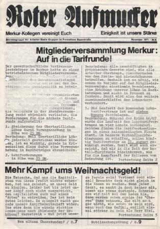 """""""Roter Aufmucker"""", Betriebszeitung der """"Betriebsgruppe der ABG im Pressehaus Bayerstraße"""", November 1971, Nr. 8,"""