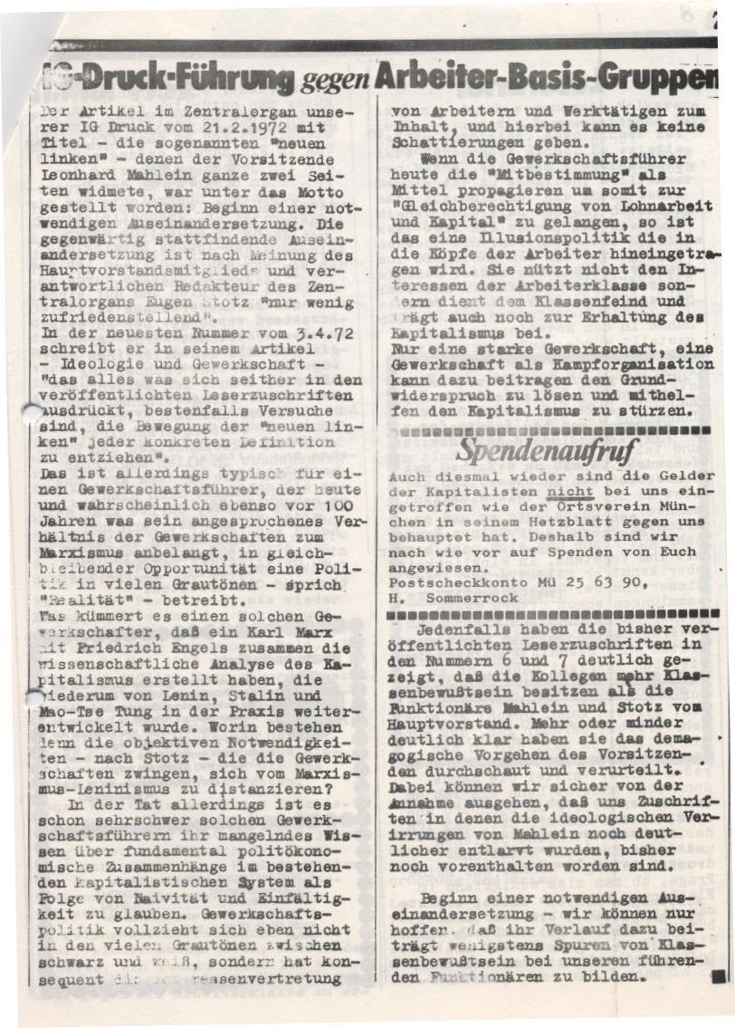 """Artikel """"IG_Druck_Führung gegen Arbeiter_Basis_Gruppen"""", aus: """"Roter Widerdruck"""", Betriebszeitung der Betriebsgruppe der ABG für die Druckindustrie, April 1972, Jg. 2, Nr. 9"""