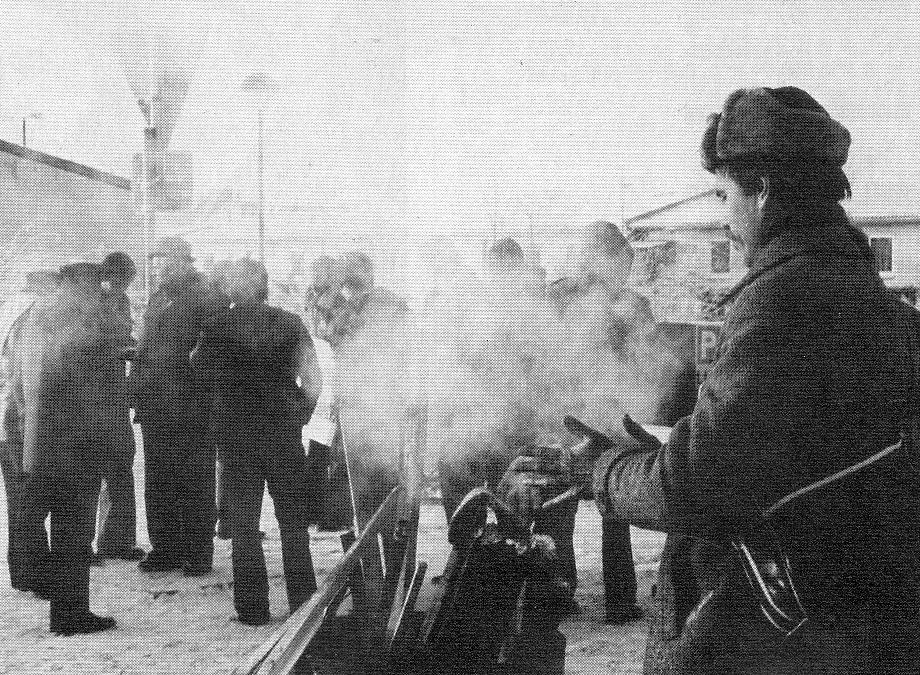 Streikposten bei Klöckner in Bremen Ende 1978