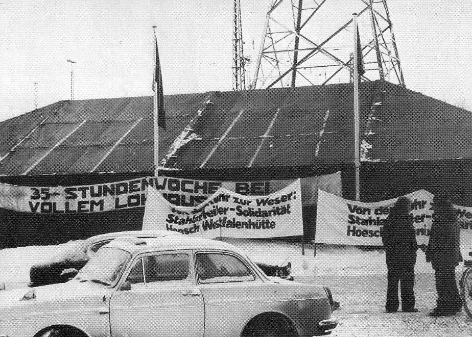 Streikzelt der IGM bei Klöckner in Bremen Ende 1978