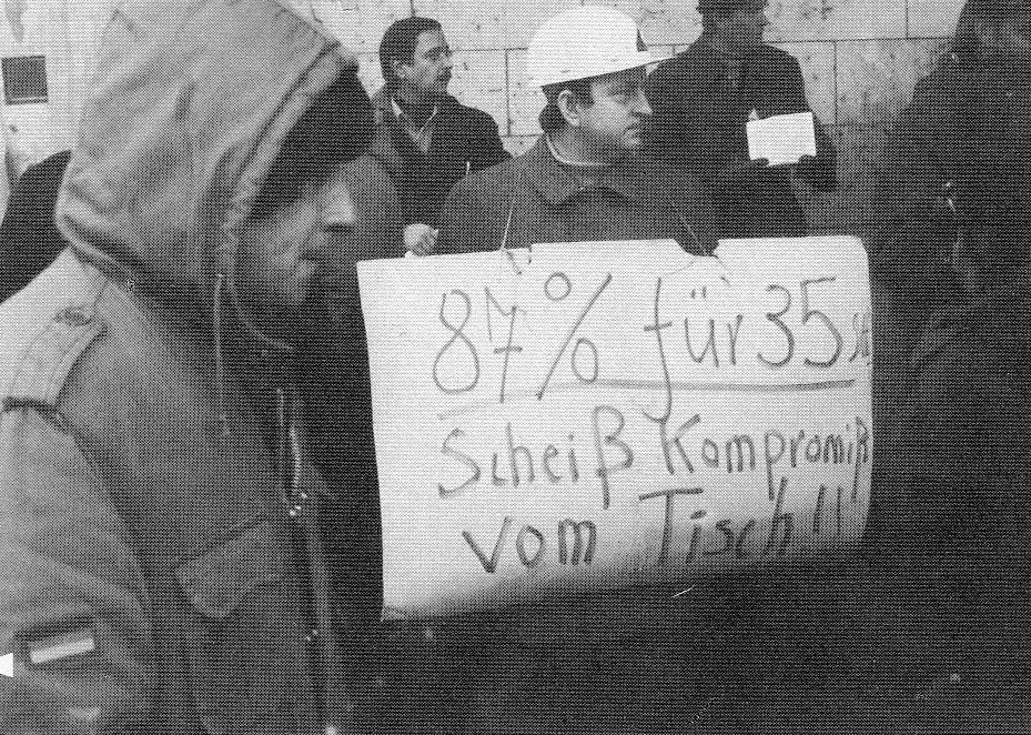 Protest gegen den Tarifabschluss Anfang Januar 1979