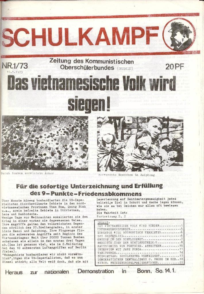 Schulkampf _ Zeitung des KOB, Nr. 1/73, Seite 1