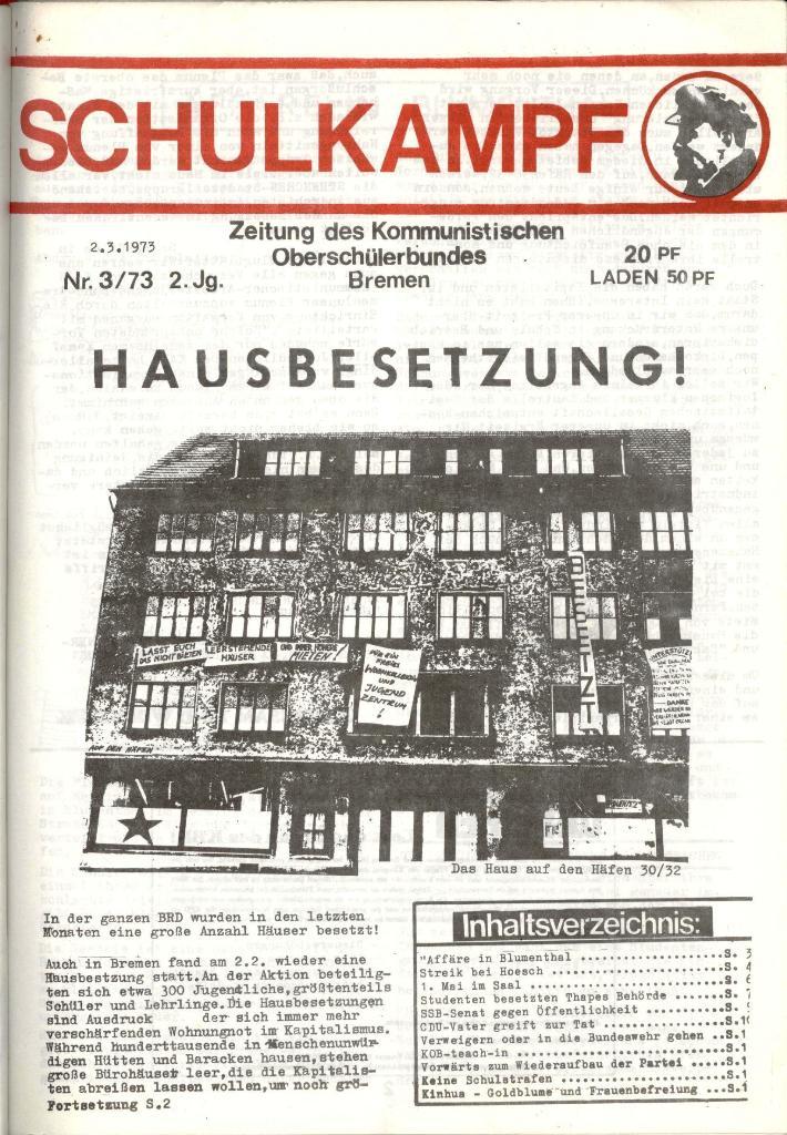 Schulkampf _ Zeitung des KOB, Nr. 3/73, Seite 1