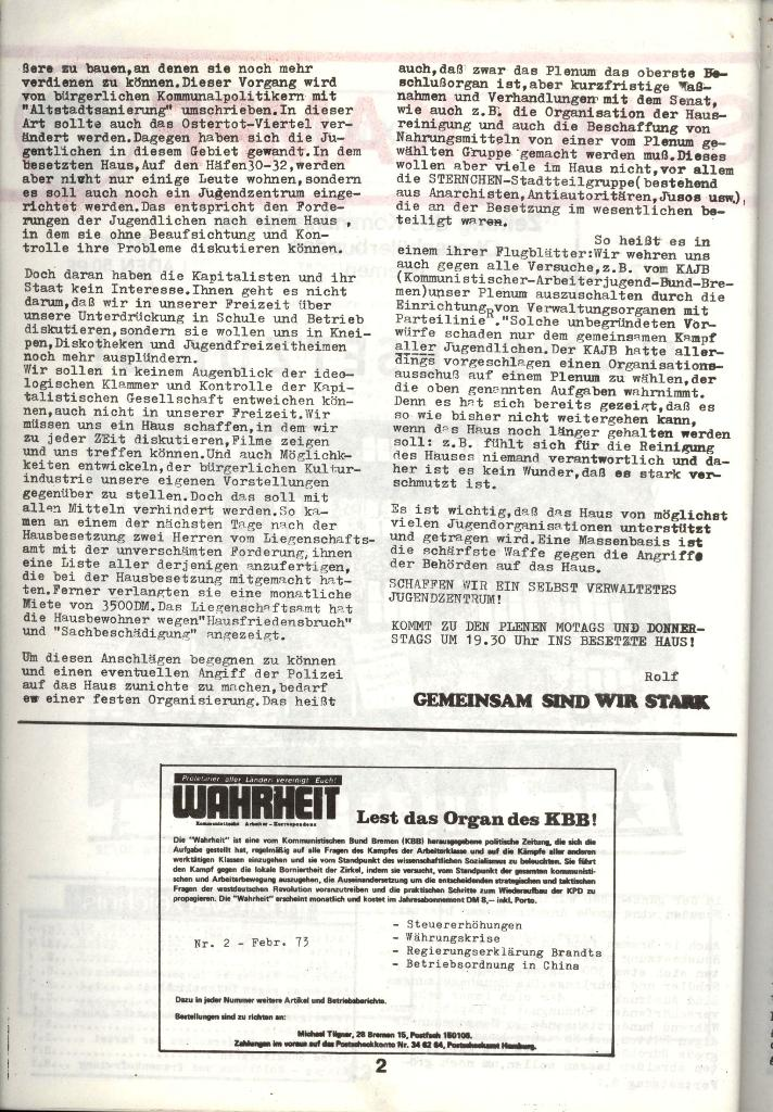 Schulkampf _ Zeitung des KOB, Nr. 3/73, Seite 2