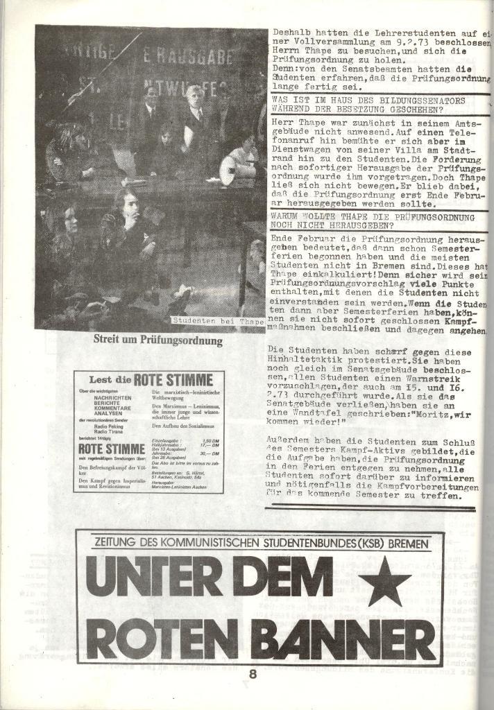 Schulkampf _ Zeitung des KOB, Nr. 3/73, Seite 8