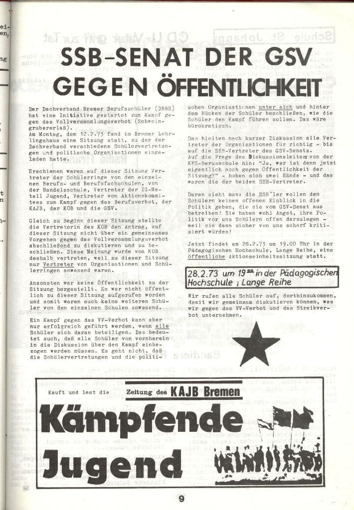 Schulkampf _ Zeitung des KOB, Nr. 3/73, Seite 9