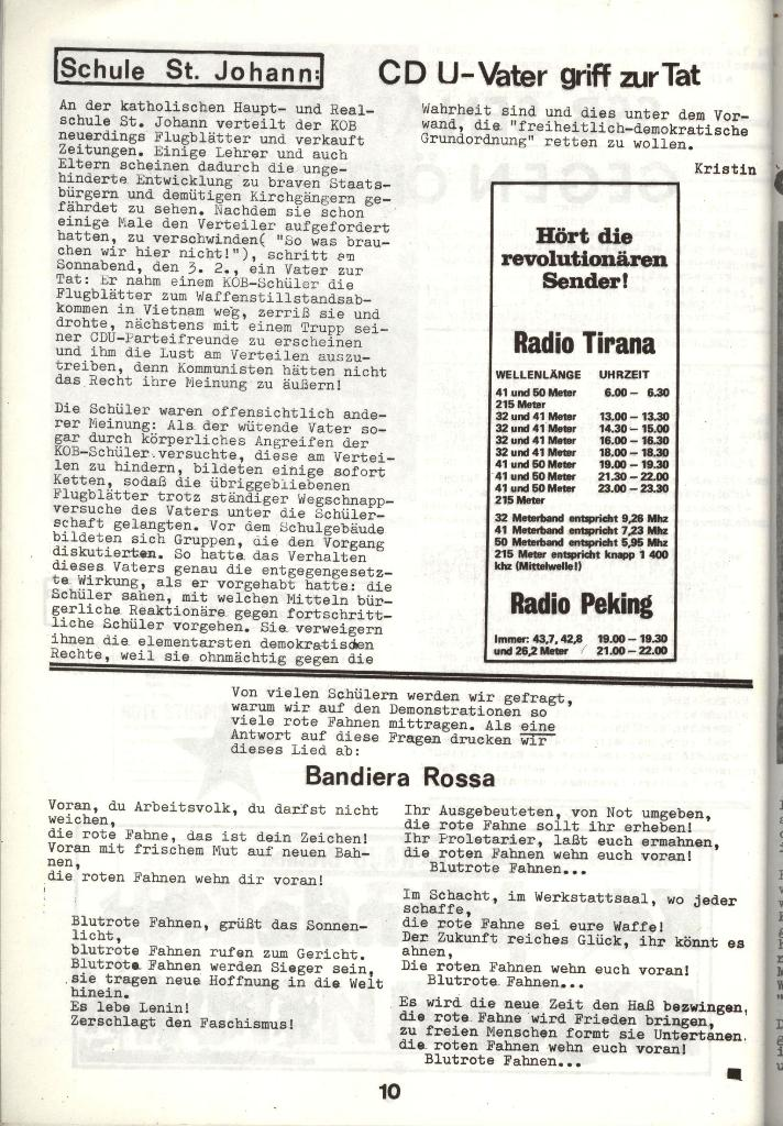 Schulkampf _ Zeitung des KOB, Nr. 3/73, Seite 10