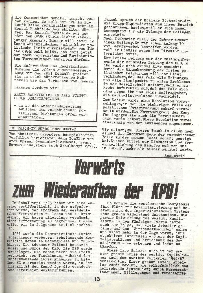 Schulkampf _ Zeitung des KOB, Nr. 3/73, Seite 13