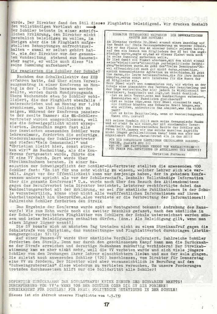 Schulkampf _ Zeitung des KOB, Nr. 3/73, Seite 17