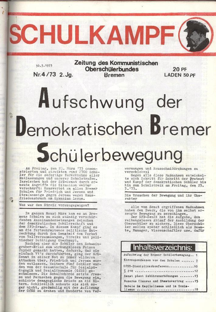 Schulkampf _ Zeitung des KOB, Nr. 4/73, Seite 1
