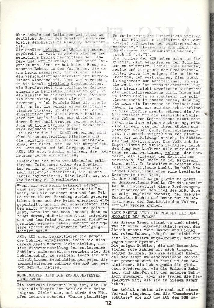 Schulkampf _ Zeitung des KOB, Nr. 5/73, Seite 12