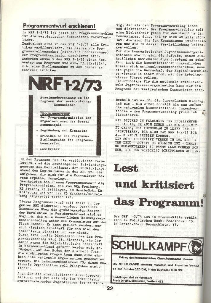 Schulkampf _ Zeitung des KOB, Nr. 5/73, Seite 22
