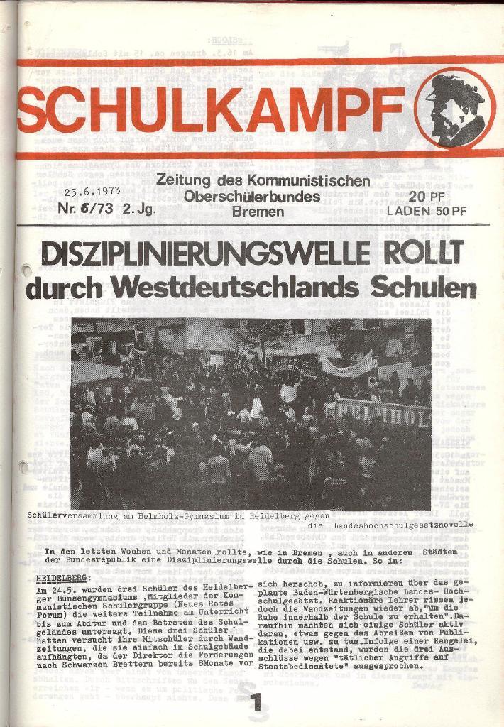 Schulkampf _ Zeitung des KOB, Nr. 6/73, Seite 1