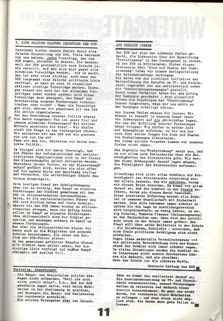 Schulkampf _ Zeitung des KOB, Nr. 6/73, Seite 11