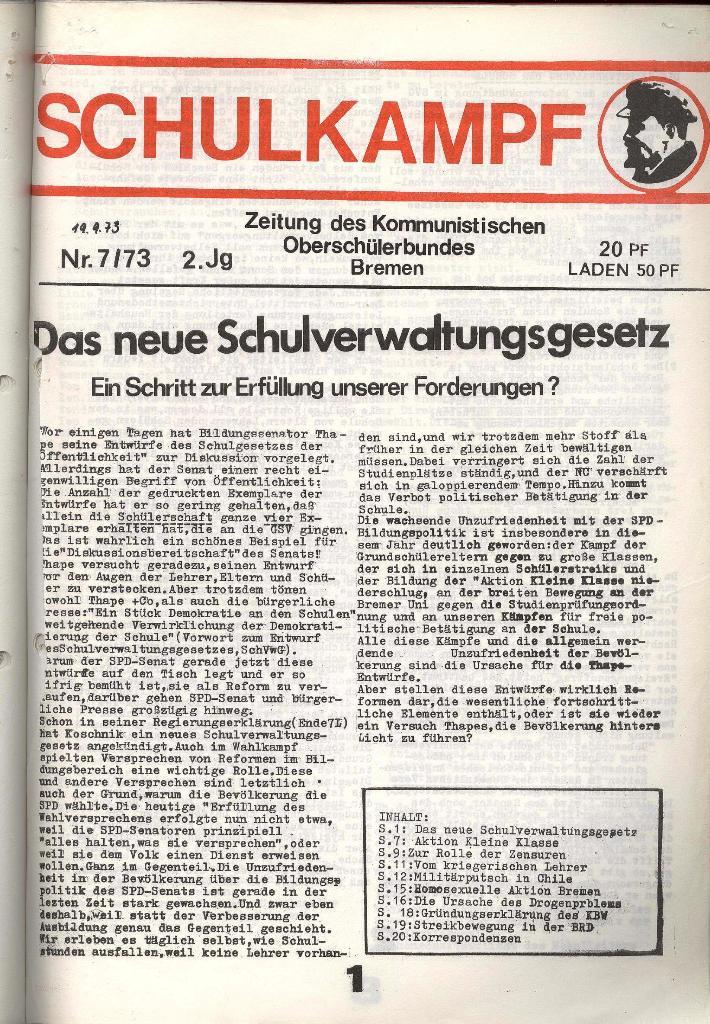Schulkampf _ Zeitung des KOB, Nr. 7/73, Seite 1