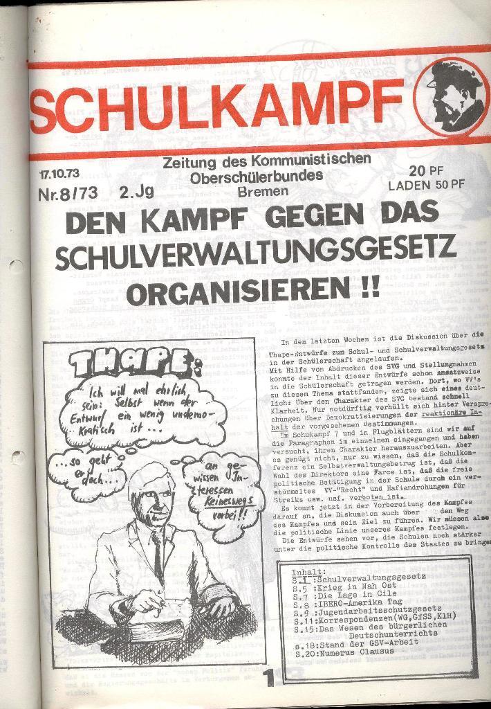 Schulkampf _ Zeitung des KOB, Nr. 8/73, Seite 1