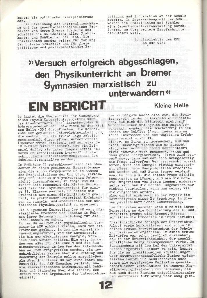 Schulkampf _ Zeitung des KOB, Nr. 8/73, Seite 12