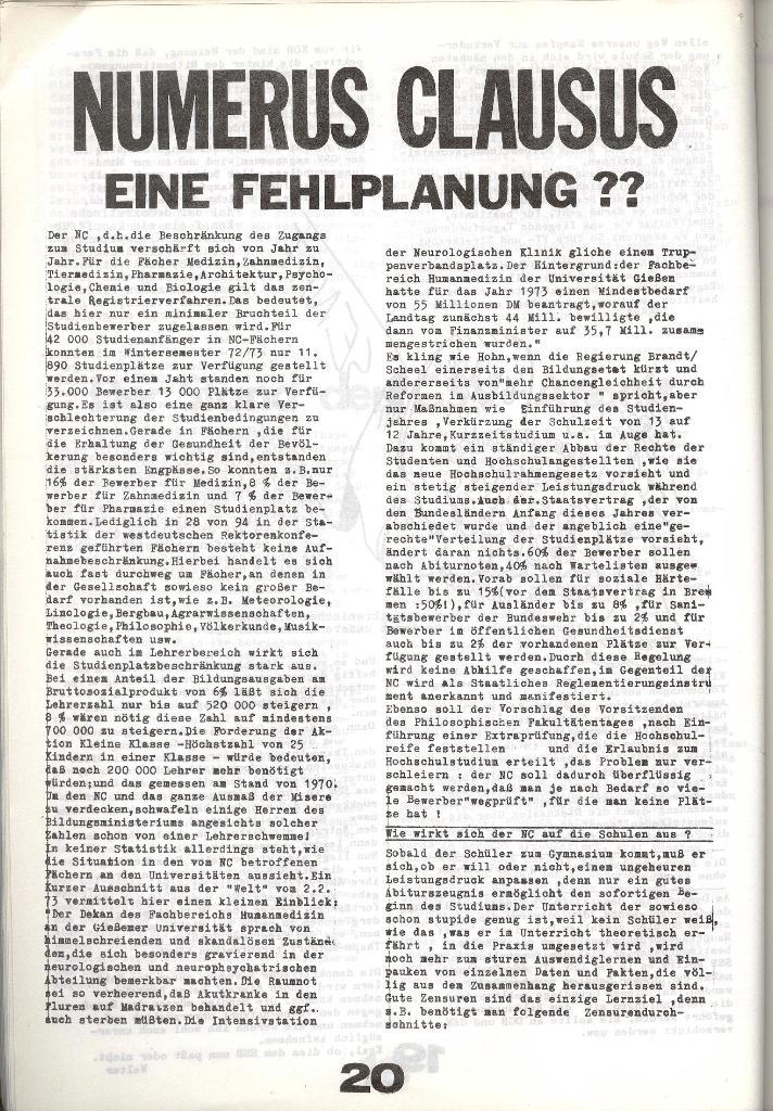 Schulkampf _ Zeitung des KOB, Nr. 8/73, Seite 20