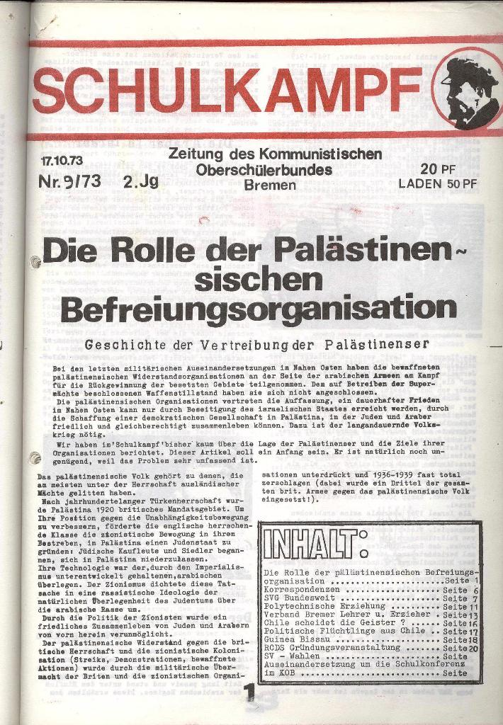 Schulkampf _ Zeitung des KOB, Nr. 9/73, Seite 1