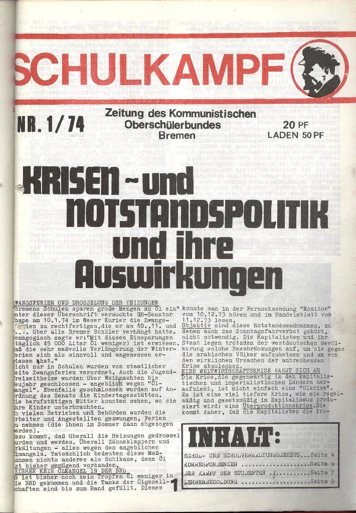 Schulkampf _ Zeitung des KOB, Nr. 1/74, Seite 1