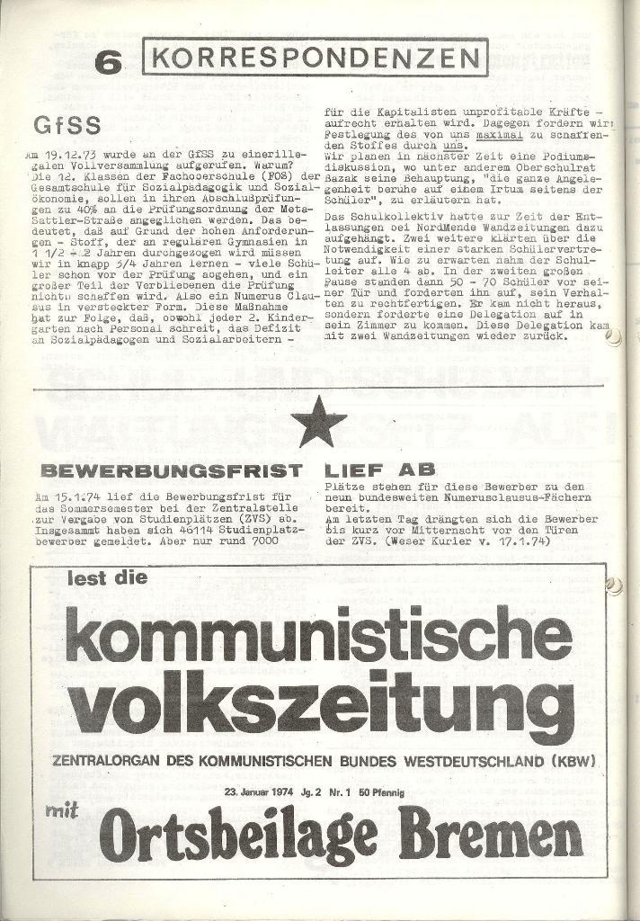 Schulkampf _ Zeitung des KOB, Nr. 1/74, Seite 6