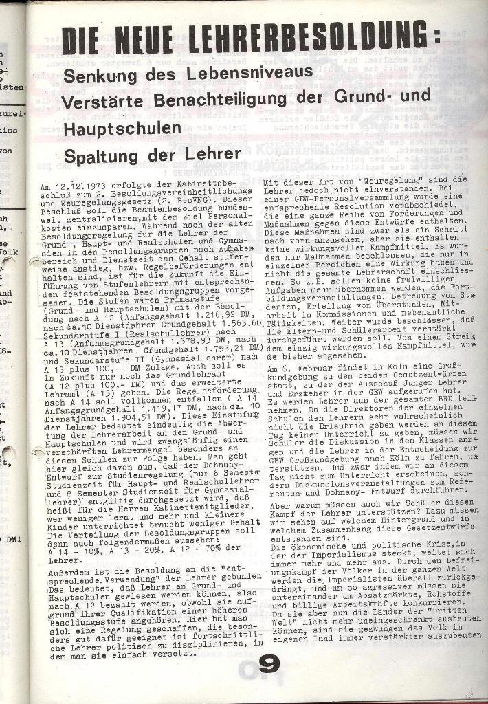 Schulkampf _ Zeitung des KOB, Nr. 1/74, Seite 9