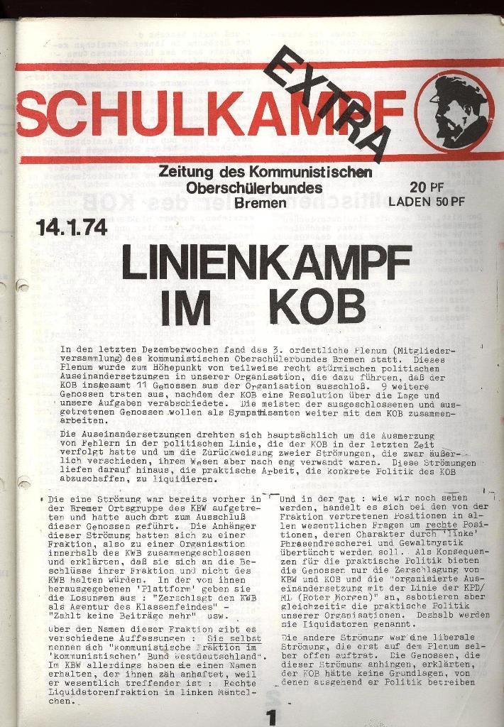 Schulkampf _ Zeitung des KOB, Extra, 14.1.74 , Seite 1