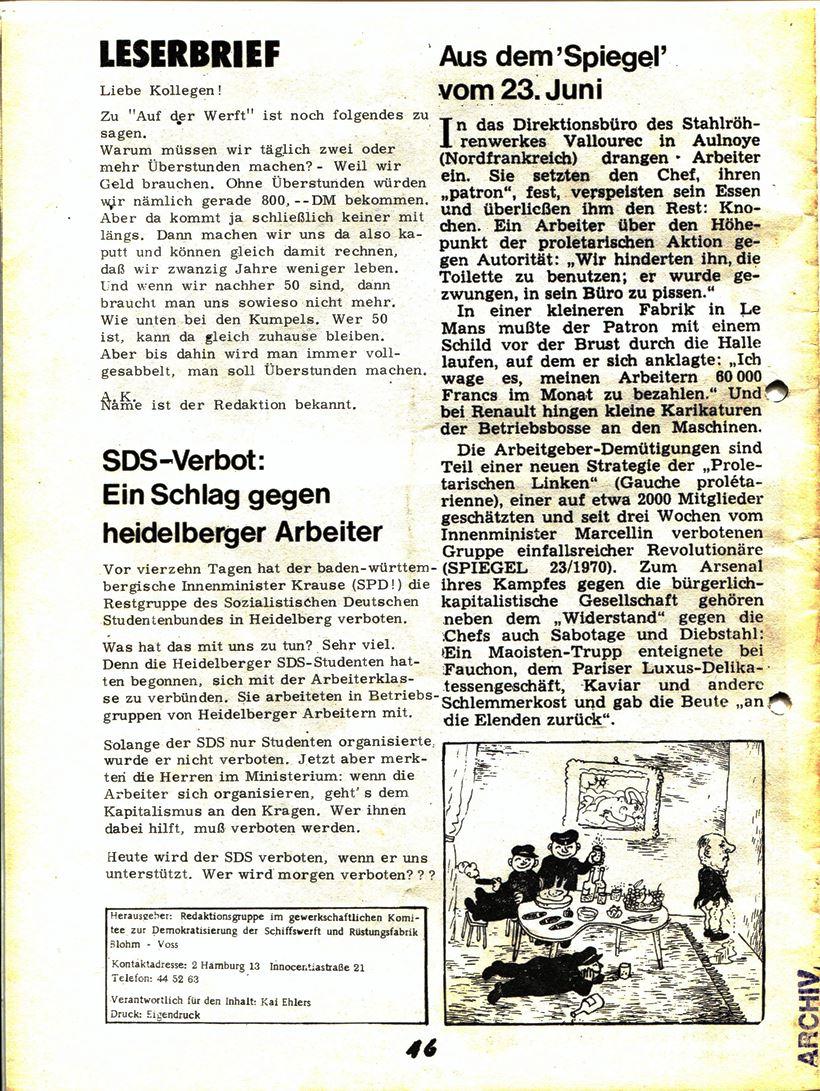 Blohm und Voss Arbeiterzeitung, Nr. 2, Jg. 1, Juni/Juli 1970, Seite 1